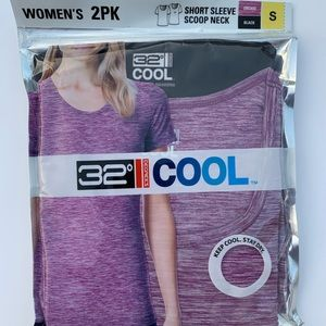 32 Degrees Womens Short Sleeve 2-Pack Black/Orchid